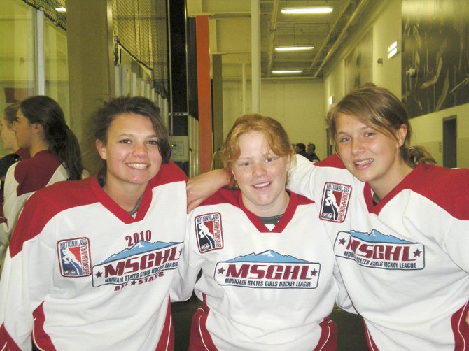 Megan Stabile, from left, Hannah Samlowski and Sara Stout were part of a Mountain States Girls Hockey League all-star team that finished third in a U16 Tier 2 National Championship tournament in Anaheim, Calif., during the weekend.