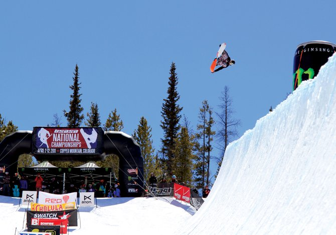 Steamboat Springs snowboarder Taylor Gold competes Tuesday in the men's open halfpipe at the United States of America Snowboard Association National Championships at Copper Mountain. Gold took home the title, while his sister Arielle finished second in the women's open division.