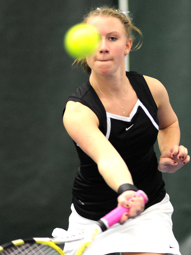 Steamboat's Allie Lowrie watches after smacking a return on Friday in a match against Aspen.