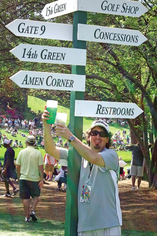 Craig resident Brett Etzler is shown here Monday near the 15th hole at Augusta National in Georgia. Etzler and his fiancée, Stephanie Perez, attended the practice session for the 75th Masters Tournament, which began Thursday and concludes Sunday.