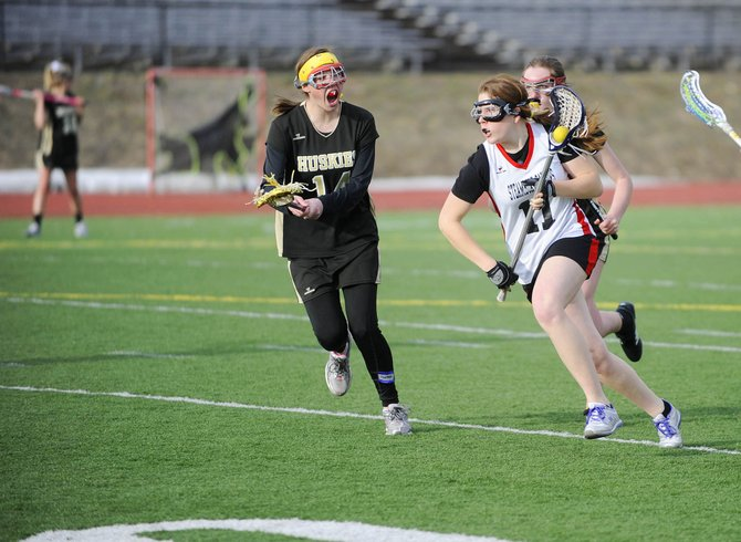 Steamboat Springs High School girls junior varsity lacrosse player Sammie Cline runs the balls up the field during Tuesday's game against Battle Mountain. The Sailors won, 8-5.