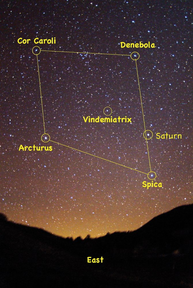 Look for the four bright stars of the Spring Diamond high in the eastern sky at about 9 p.m. in mid-April. The ringed planet Saturn adds an extra sparkle to the diamond this spring.