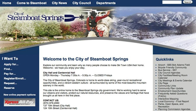 The city recently revamped its website, www.steamboatsprings.net, to offer online bill pay as well as to make it easier for residents to find information and data.