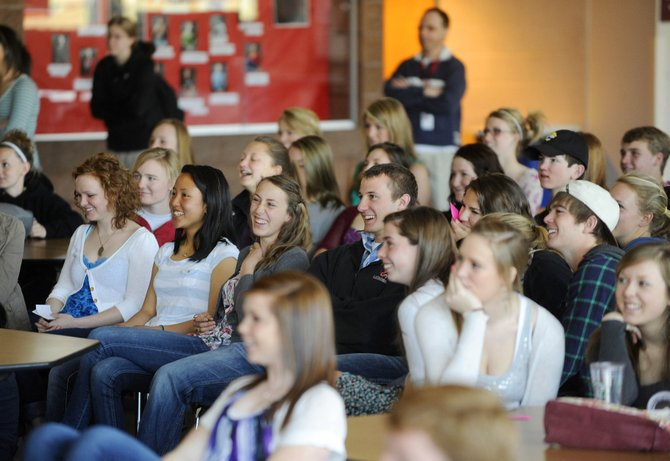 Steamboat Springs High School students watch one of four financial-literacy-themed videos produced by students.
