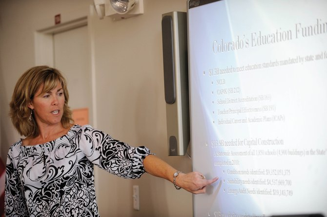 Paula Stephenson, executive director of the Colorado Rural Schools Caucus, gives a presentation about education funding Wednesday at the George P. Sauer Human Services Center.