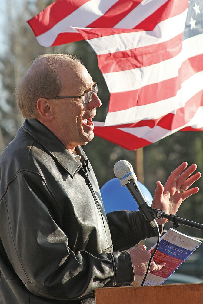 "Michael Holler, author of ""The Constitution Made Easy,"" speaks Friday at the Tax Day Freedom Rally at the Moffat County Courthouse. On Saturday, Holler hosted a seminar on the Constitution at American Legion Post 62. He said today's government is a far cry from the intentions of the Founding Fathers."