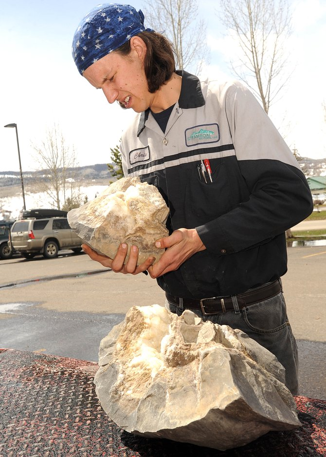 Chris Ketter tries to remember how the pieces of a geode he found near Steamboat Springs go together.