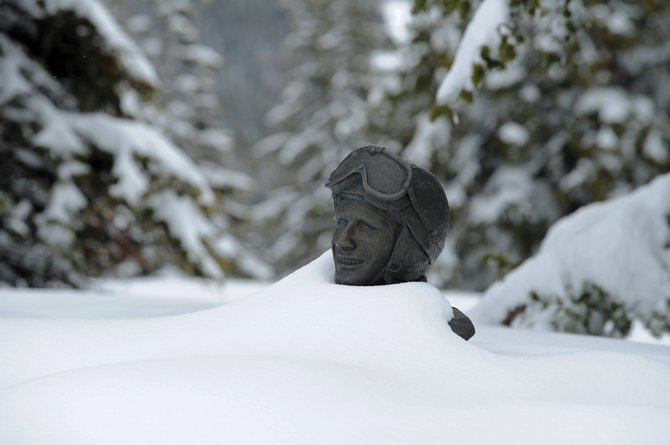 Think spring has arrived? The Buddy Werner statue on top of Storm Peak at Steamboat Ski Area told a different story Thursday. Ski area officials say they can't remember so much snow on Mount Werner so late into spring.