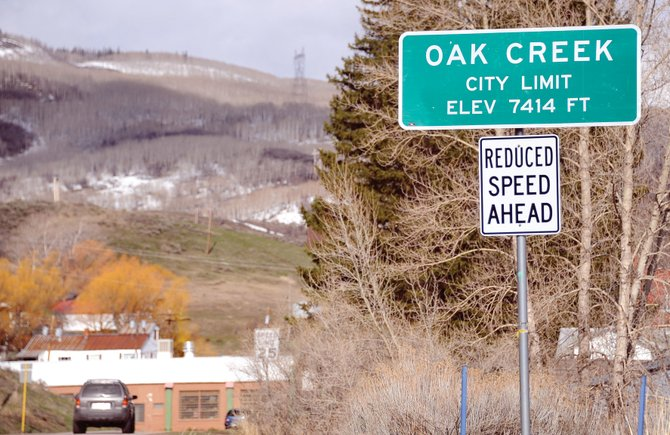 A sign marks the city limits of Oak Creek. A heated debate about medical marijuana is taking place in the community.