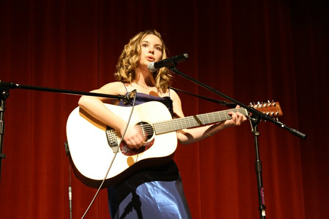 "Caitlin Harjes, a Moffat County High School freshman, performs ""Standing Still"" on Saturday night during the Craig Concert Association's annual Talent Show."