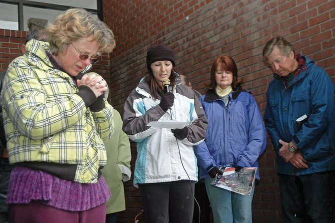 Craig residents pray during the 2010 National Day of Prayer at the Moffat County Courthouse. Last year's event drew about 75 people. This year's prayer gathering is scheduled for noon May 5 and will again take place at the courthouse.