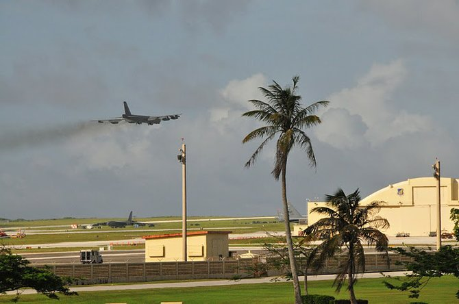 A B-52 takes off from Andersen Air Force Base in Guam.