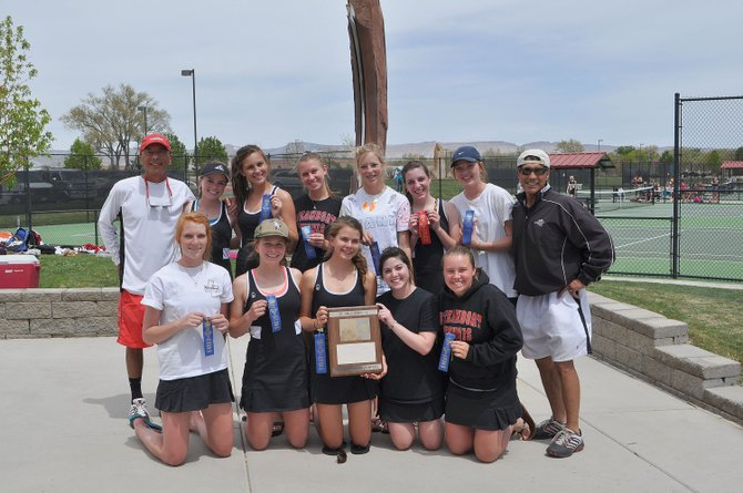 The Steamboat Springs High School girls tennis team won the regional tournament in Grand Junction on Friday. The team is, back row from left, coach Don Toy, Ali Diehl, Summer Smalley, Alli Lowrie, Rachel Grubbs, Christi Valicenti, Ellie Bender and coach John Aragon; and front row from left, Kaitie Breisch, Maria Hillenbrand, Claire Parsons, Lauren Siegel and Rachelle Steele-Cerone.