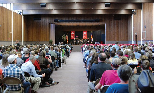 A standing-room-only crowd watched the Colorado Northwestern Community College commencement ceremonies Saturday in Rangely. The college awarded 231 degrees and certificates this year. The 140 graduates from the Craig campus is nearly double the number of graduates from two years ago.