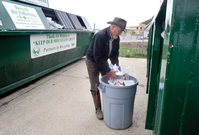 Jeff Finoff, who lives in North Routt County, drops off his recycling at Waste Management in Steamboat Springs on Wednesday afternoon. Every Day is Earth Day will include many activities, including an event to drop-off difficult-to-recycle materials.