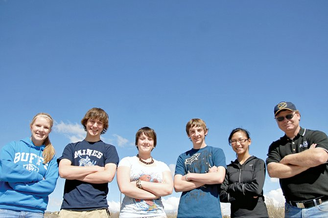 Five Moffat County High School students have been chosen to participate in a yearlong national study of ground-level ozone levels. From left, sophomores Rose Howe, Matt Balderston, Hannah Kirk, Ben East, freshman Marianne Pressley and science teacher Roger Spears.