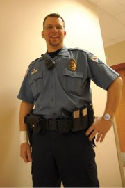 Craig Police Department Officer Ryan Fritz stands Tuesday at the Moffat County Public Safety Center. Fritz was recognized by the department this week for helping three Moffat County Sheriff's Office deputies save the life of an inmate at the Moffat County Jail last month.