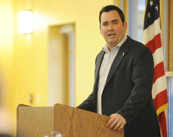 Colorado State Treasurer Walker Stapleton speaks Saturday during the Routt County Republicans Lincoln Day potluck dinner at the Steamboat Springs Community Center.