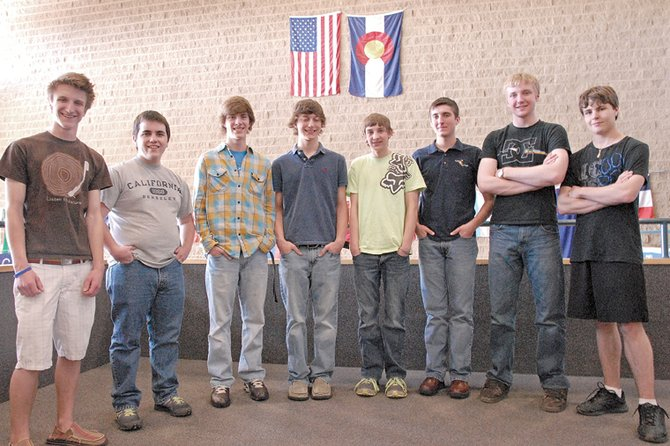 Eight Moffat County High School students will be competing in national events this year in FBLA and speech and debate. Pictured, from left, are speech and debate team members Derek Maiolo, Collin Dilldine, Ryan Zehner, Matt Balderston, and Ben East, followed by FBLA members Slade Gurr, Ryan Neece and Zeb Strickland.