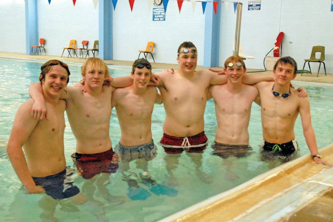 The Moffat County High School boys varsity swimming team will send seven swimmers to the 4A state meet Friday and Saturday at Mesa State College in Grand Junction. Pictured, from left, are Colter Tegtman, Charlie Griffiths, Dalton Kendall, John Kirk, Zack Ahlmer and Matt Hulstine. Tegtman and Hulstine will compete in individual events while the other five, including Justin Prosser, not pictured, will either race on the relay teams or serve as alternates.