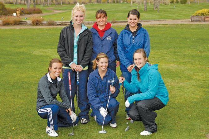The Moffat County High School girls varsity golf team poses Wednesday at the Yampa Valley Golf Course. Pictured are, back row, from left, Callie Papoulas, coach Ann Marie Roberts and Samantha Fox, and, front row, from left, Nike Cleverly, Caitlin Harjes and Jessica Matthews. Papoulas, Fox and Cleverly will play in the 4A state tournament Monday and Tuesday in Pueblo.