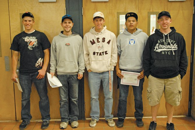 Ben Williams, from left, Dylon Camilletti, Graig Medvesk, Carlos Maldonado and Bubba Ivers stand Wednesday outside the Moffat County High School gym after the MCHS baseball team's postseason banquet. Williams was named co-player of the year for the Western Slope League and received first-team all-conference honors along with Camilletti and Ivers. Medvesk and Maldonado were named honorable mentions.