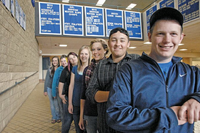 This year, 10 Moffat County High School seniors will receive diplomas having already earned college-level associate's degrees or certificates. Pictured above are, from left, Jessica Matthews, Austin Lee, Shey Ellis, Mandi Ellgen, Jentry Cattoor, Mike Miller and Chance Peterson. Not pictured are Kye Adams, Lauren Roberts and Tyler Smercina.