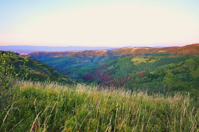 Bugler's Ridge comprises 3,400 acres of dense aspen and grassland northwest of Routt County Road 25 just a few miles south of Oak Creek. For a number of years, it has been managed for trophy elk hunting. New owners reportedly are interested in exploring for oil and gas.