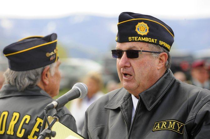Bob Printy, of American Legion Post No. 44, talks about the roles women have played in the military during Monday's Memorial Day ceremony at Steamboat Springs Cemetery.