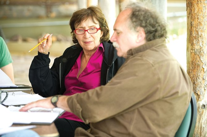 Actor Maria Tucci, who has appeared in Broadway plays, talks with playwright Willy Holtzman, in foreground, at the Perry-Mansfield Performing Arts Camp during New Works Festival in June 2010. This year's festival begins June 13 with open rehearsals, readings of newly-developed plays and a dance presentation.