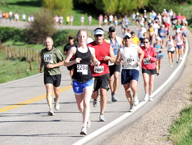 Hundreds of half-marathon runners make their way toward downtown Steamboat Springs in 2010 during the Steamboat Marathon. This year's marathon, half-marathon and 10K races are at 7:30 a.m. Sunday. All races end at the Routt County Courthouse.