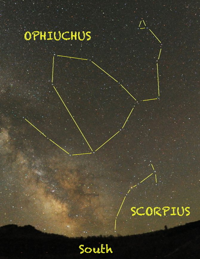Look for the house-shaped pattern of Ophiuchus, the Serpent Bearer, high in the southern sky at about 11 p.m. early this month. If you were born between Nov. 29 and Dec. 18, then you are an Ophiuchan.