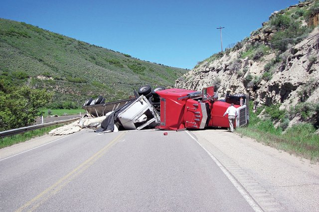 This truck was involved in a single-vehicle crash Wednesday on Colorado Highway 13 south of Craig. The driver, Michael Jones of Las Vegas, suffered minor injuries and was treated and released on the scene. Colorado State Trooper Tonja Cowan said the cause of the crash was an unsafe load.