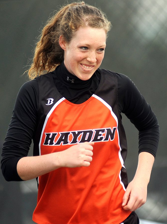Hayden junior Aubree Haskins grins after her second throw in the Class 2A girls shot put finals at the state track meet in Lakewood earlier this year. Haskins was named the Steamboat Pilot & Today athlete of the year.