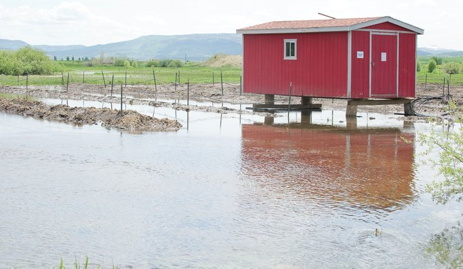 The shed that serves as offices for the Snow Country Nursery in Steamboat Springs stands a couple of feet off the ground Monday afternoon in the wake of last week's flooding. Water receded during the weekend after  nearly reaching past the door of the building late last week.