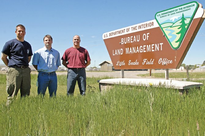 The Bureau of Land Management's Little Snake Field Office in Craig has added new officials in recent weeks. The new hires are, from left, Colt Mortenson, interagency fire management officer; Matt Anderson, associate field manager; and Ed Hendricks, law enforcement ranger.