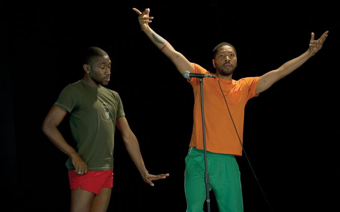 Performers Kyle Abraham, right, and Chalvar Monteiro rehearse their roles for this year's New Works Festival at the Perry-Mansfield Performing Arts School and Camp. Abraham is choreographing three pieces, which are a mix of contemporary and hip-hop dance. The performances begin at 8 p.m. Friday night at the Main Studio on the Perry-Mansfield campus.