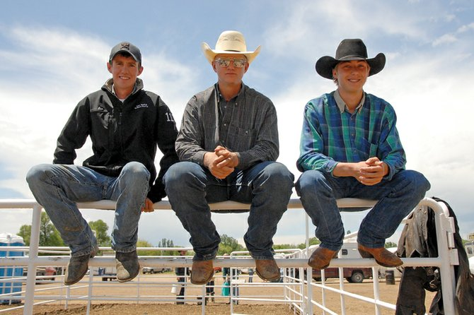 The Moffat County High School rodeo team competed Thursday in the first day of the Colorado State High School Rodeo finals at the Moffat County Fairgrounds. Pictured above, from left, are Ian Duzik, Wyatt Uptain and Garrett Buckley. Taylor Duzik, who is also competing, is not pictured.