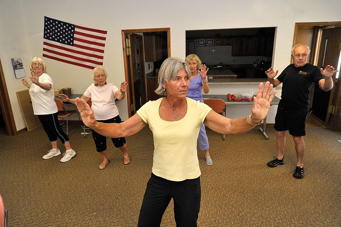 Susan Shoemaker leads a tai chi class at the Scott Center, which is attached to the Selbe Apartments in Steamboat Springs. The class included, from left, Jeanne Kempers, Betty Leipold, Pat King and Bill McCalla. According to 2010 census data, the percentage of baby boomers in Routt County has increased nearly 51 percent since 2000.