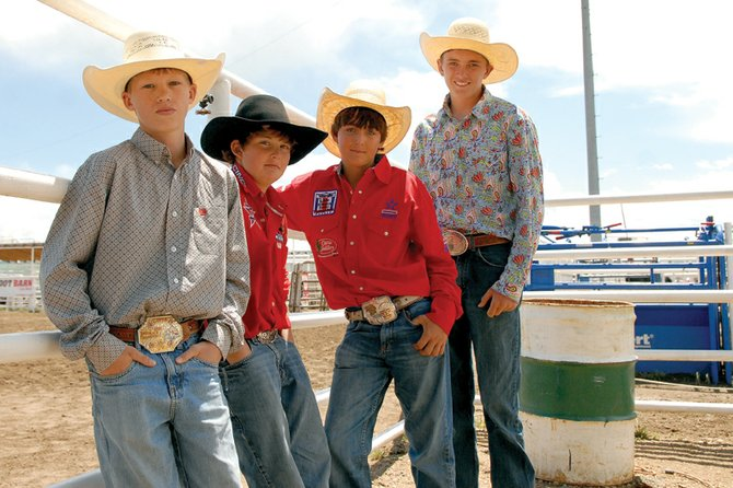 Four members of the Moffat County junior high rodeo team will compete in the national rodeo June 26 to July 2 in Gallup, N.M. From left are Garrett Uptain, Trent Vernon, Dusty Taylor and Denton Taylor.
