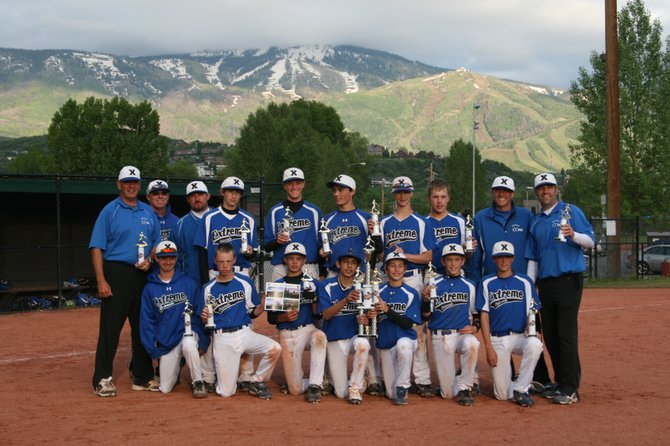 The Colorado Extreme 14-and-under baseball team celebrates after winning the Mountain Magic Triple Crown tournament over the weekend. The team features Steamboat players Koby Bishop and Jesse Pugh.