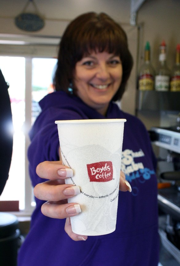 Dixie Osmun, owner of Mudd Shack, displays a turtle latte at the drive-up coffee shop, in the Centennial Mall parking lot, 1111 W. Victory Way. Craig Daily Press readers voted Mudd Shack as having the best cup of coffee in the 2011 Best of Moffat County contest. Osmun said the key to a delicious cup of coffee is organic coffee and espresso as well as purified water. She said Mudd Shack won the title of best coffee by having quick and friendly service and having relationships with customers.