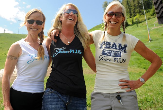 Romy Klinger, left, Courtnay Browne and Bronwyn Rittner will compete today in the Tough Mudder in Beaver Creek, a nine-mile race that includes 25 different challenge stages.