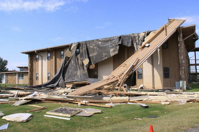 A storm Tuesday night damaged the roof at Nichol's Hall at Colorado Northwestern Community College's Rangely campus.