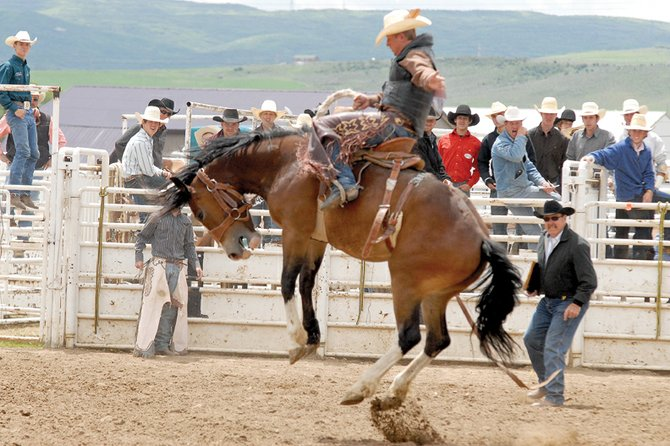 Wyatt Uptain, a Moffat County High School rodeo athlete, rides his bucking horse June 19 during the Colorado State High School Rodeo finals at the Moffat County Fairgrounds. Uptain will be the lone MCHS athlete heading to the national rodeo June 17 to 23 in Gillette, Wyo.