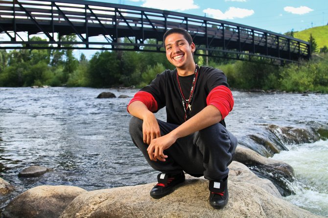 Gangs Begone: Rocky Mountain Youth Corps Student of the Year Andrew Fonseca after winning dinner with former Colorado Gov. Bill Ritter.