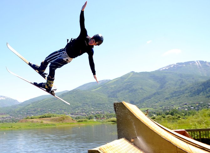 Michael DeGrandis flies off the jump at the water ramp at Bald Eagle Lake near Steamboat Springs. Coaches said the ramp allows the team priceless training opportunities.
