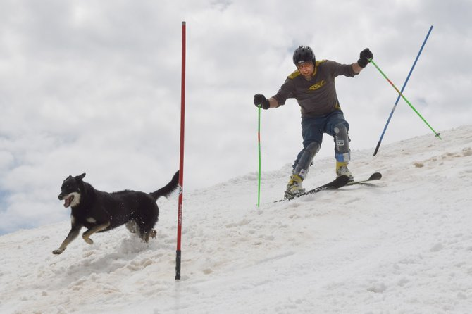 Tim Magill, who knows Hahn's Peak like few others, was quick in the slalom gates Monday, but not as quick as a mountain dog.