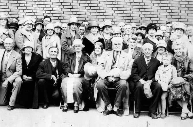 Some of the most important figures in Steamboat Springs history are seen in this undated photo of a pioneer gathering. Pictured in the center of the first two rows are Margaret Crawford, from left, Mary Crawford King, James Crawford and John Crawford.