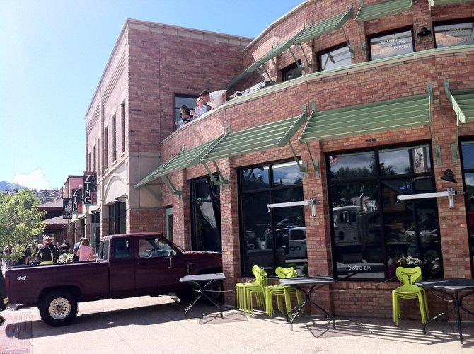 A pickup crashed into the window at bistro c.v. Wednesday morning.